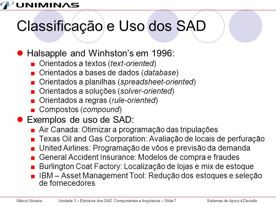 Classificação e Uso dos SAD