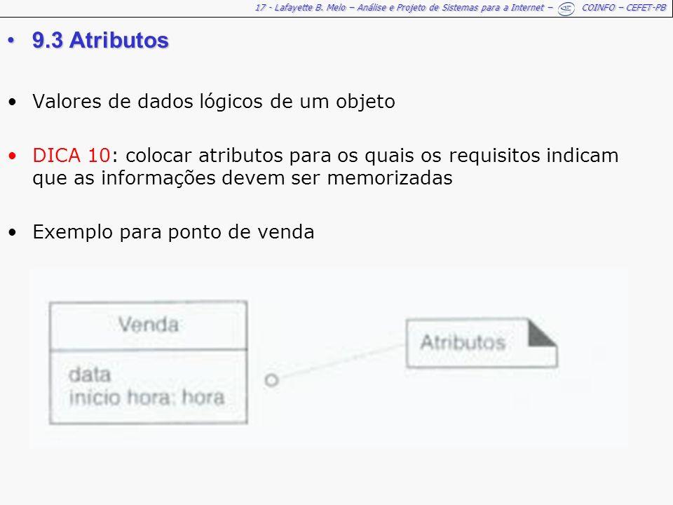9.3 Atributos Valores de dados lógicos de um objeto