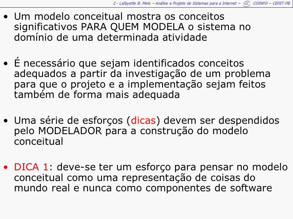 Um modelo conceitual mostra os conceitos significativos PARA QUEM MODELA o sistema no domínio de uma determinada atividade
