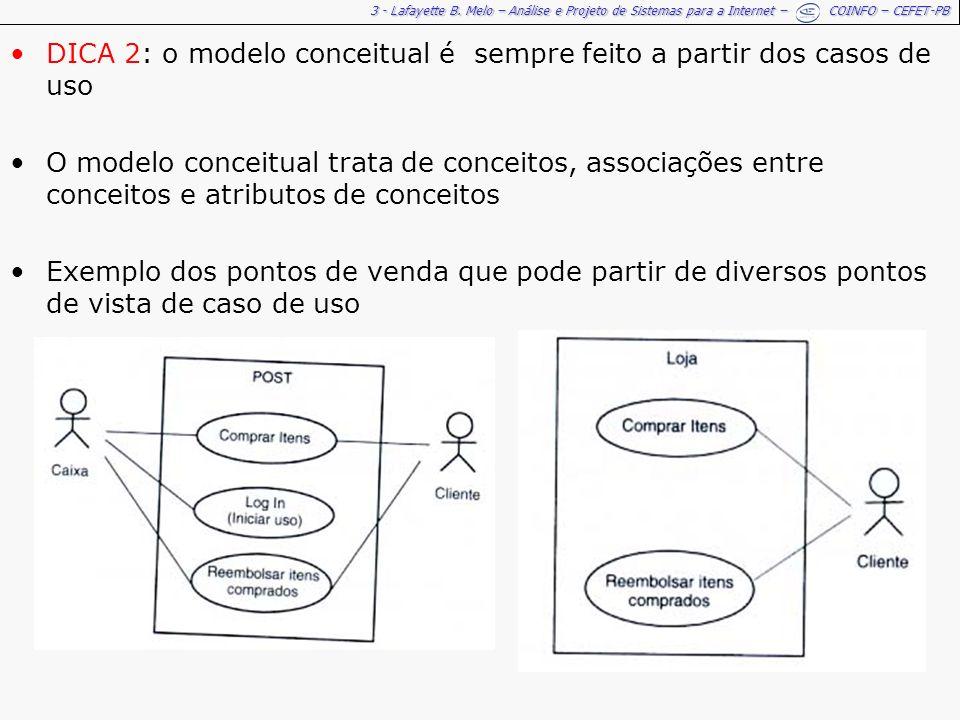 DICA 2: o modelo conceitual é sempre feito a partir dos casos de uso