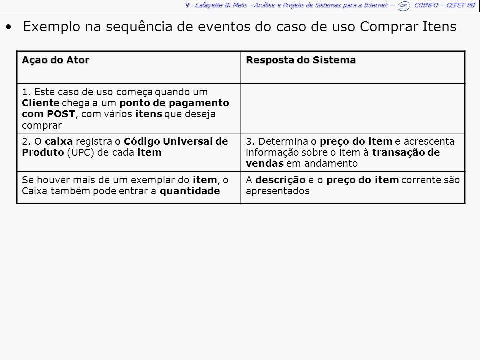 Exemplo na sequência de eventos do caso de uso Comprar Itens