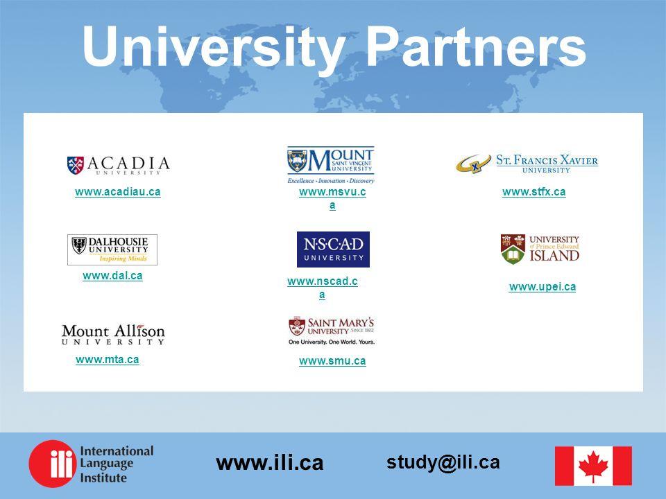 University Partners www.acadiau.ca www.msvu.ca www.stfx.ca www.dal.ca