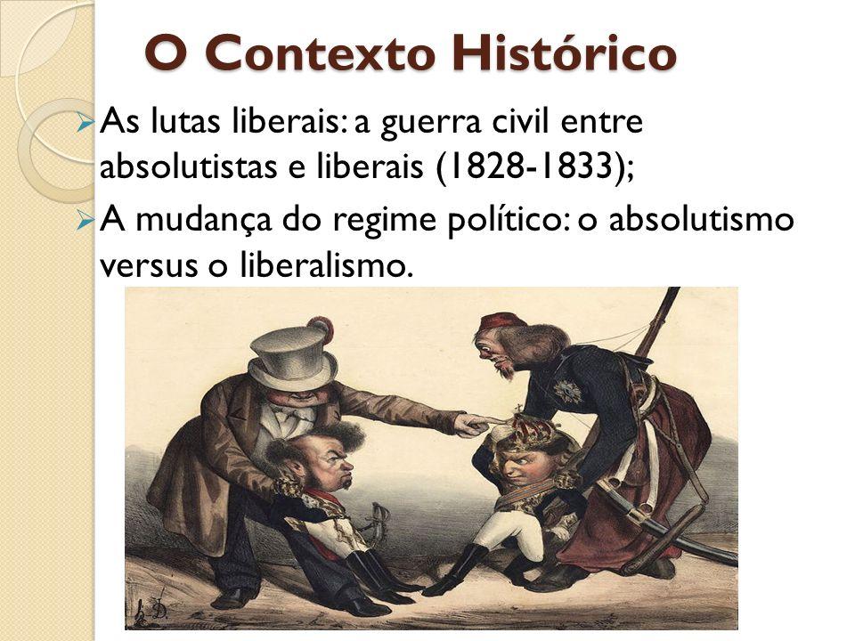 O Contexto Histórico As lutas liberais: a guerra civil entre absolutistas e liberais (1828-1833);