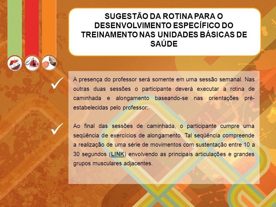SUGESTÃO DA ROTINA PARA O DESENVOLVIMENTO ESPECÍFICO DO TREINAMENTO NAS UNIDADES BÁSICAS DE SAÚDE