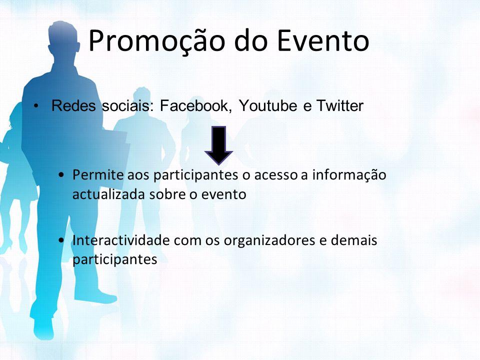 Promoção do Evento Redes sociais: Facebook, Youtube e Twitter