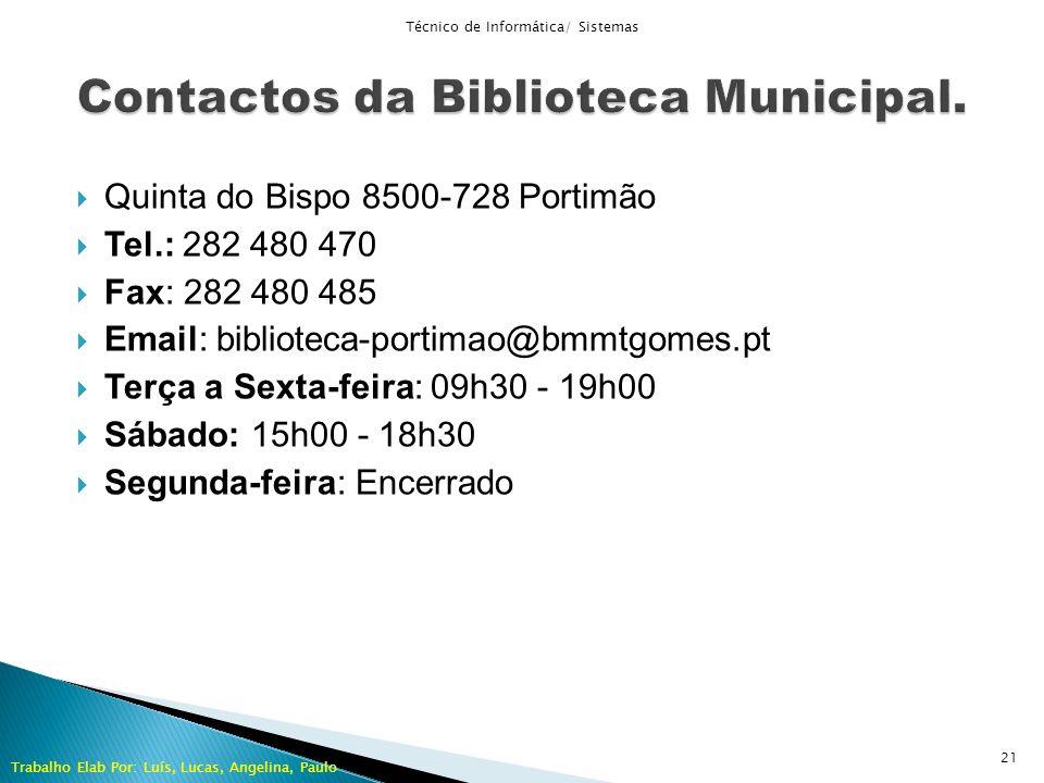 Contactos da Biblioteca Municipal.