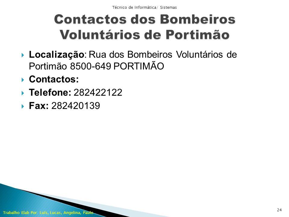 Contactos dos Bombeiros Voluntários de Portimão