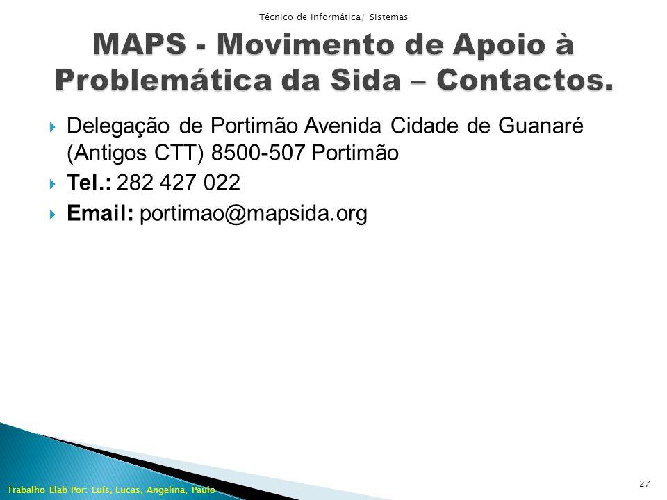 MAPS - Movimento de Apoio à Problemática da Sida – Contactos.