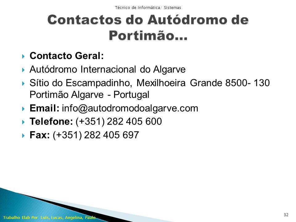 Contactos do Autódromo de Portimão…