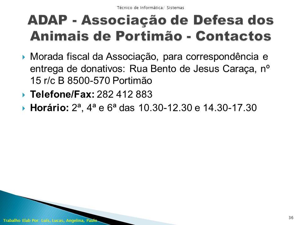 ADAP - Associação de Defesa dos Animais de Portimão - Contactos