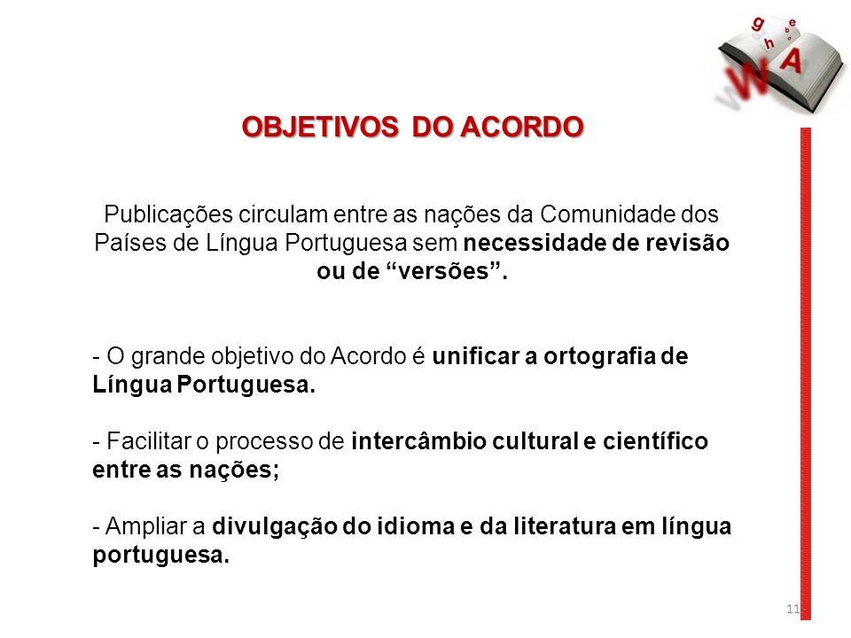 OBJETIVOS DO ACORDO Publicações circulam entre as nações da Comunidade dos Países de Língua Portuguesa sem necessidade de revisão ou de versões .