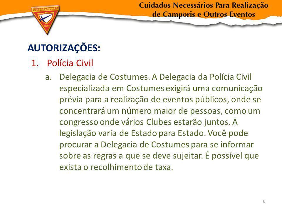 AUTORIZAÇÕES: Polícia Civil