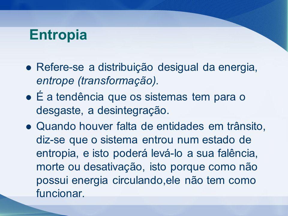 Entropia Refere-se a distribuição desigual da energia, entrope (transformação). É a tendência que os sistemas tem para o desgaste, a desintegração.