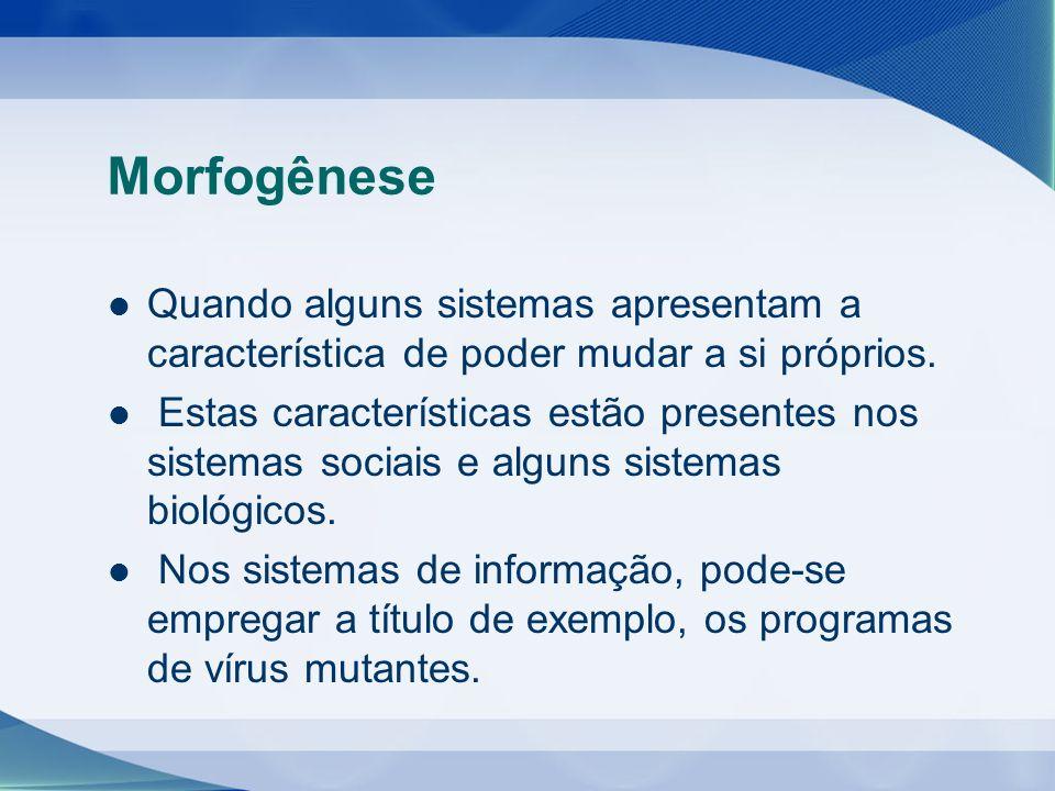 Morfogênese Quando alguns sistemas apresentam a característica de poder mudar a si próprios.