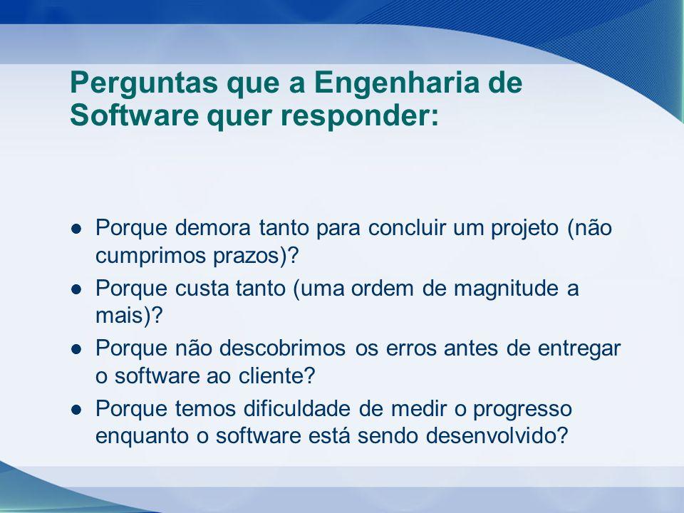 Perguntas que a Engenharia de Software quer responder: