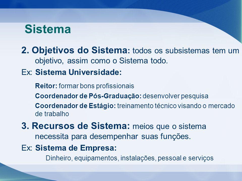 Sistema 2. Objetivos do Sistema: todos os subsistemas tem um objetivo, assim como o Sistema todo. Ex: Sistema Universidade: