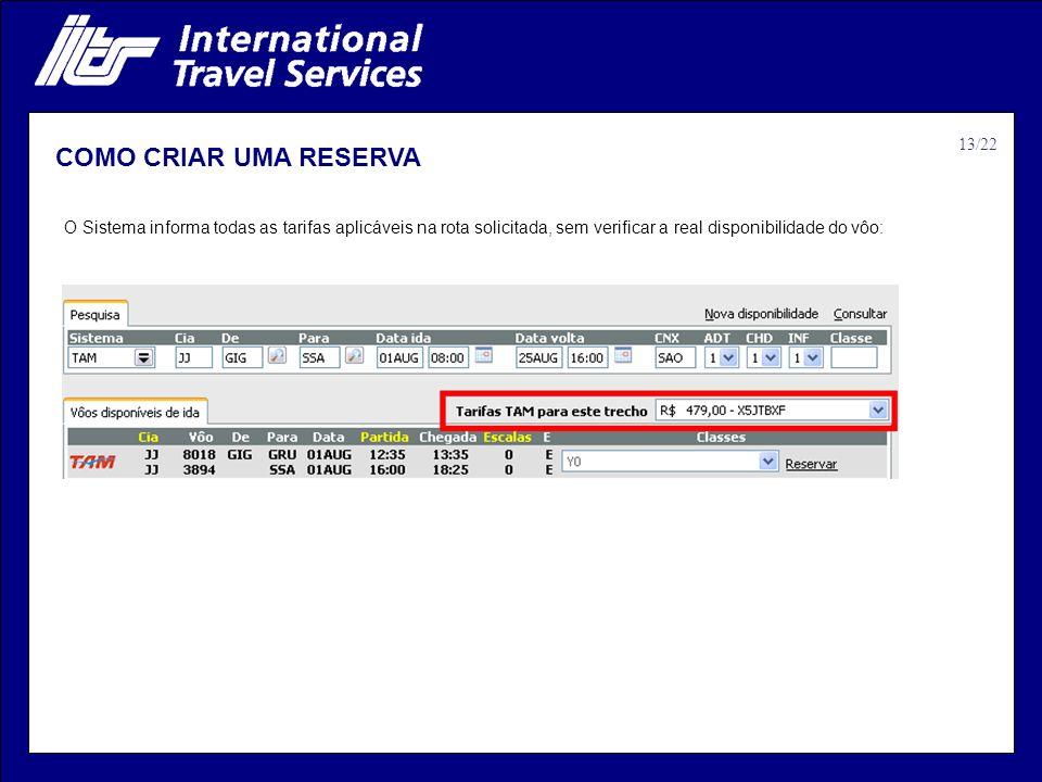 COMO CRIAR UMA RESERVA 13/22