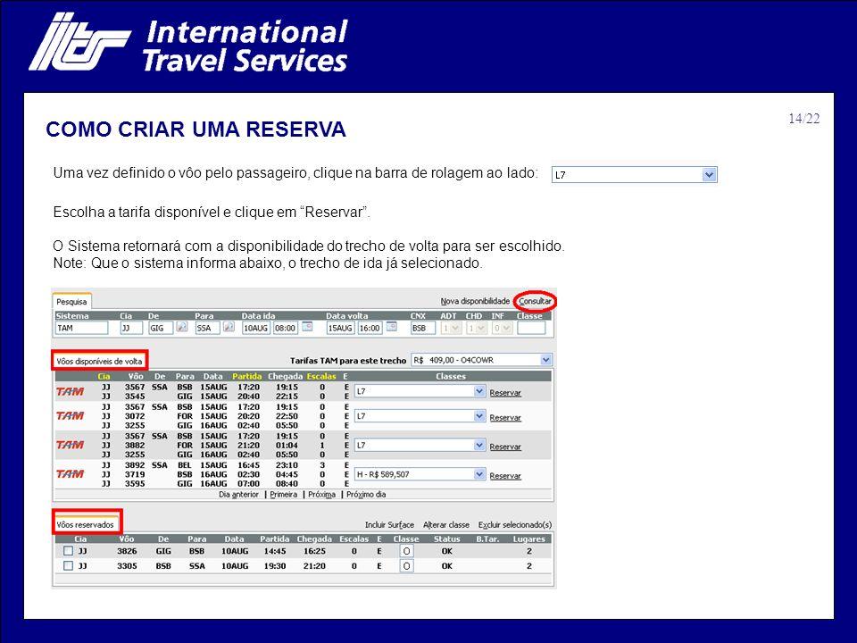 COMO CRIAR UMA RESERVA 14/22
