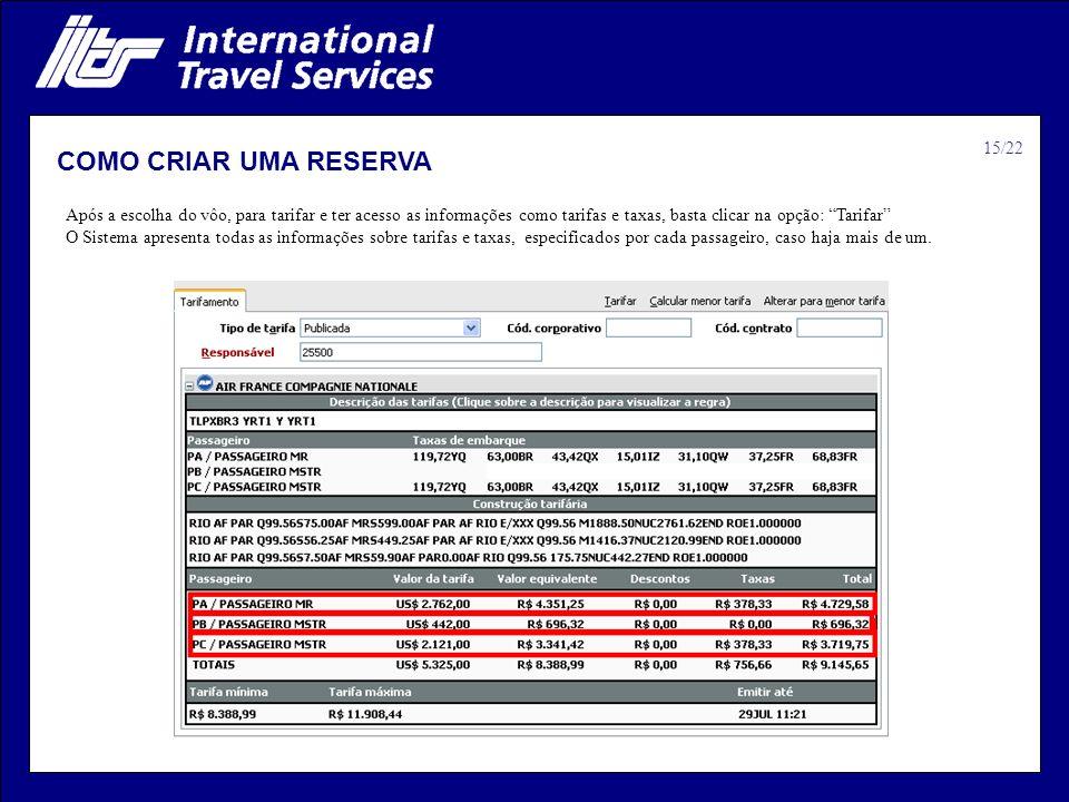 COMO CRIAR UMA RESERVA 15/22