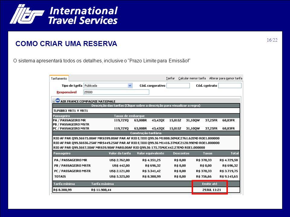 COMO CRIAR UMA RESERVA 16/22