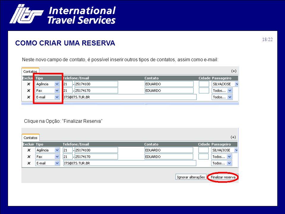 COMO CRIAR UMA RESERVA 18/22