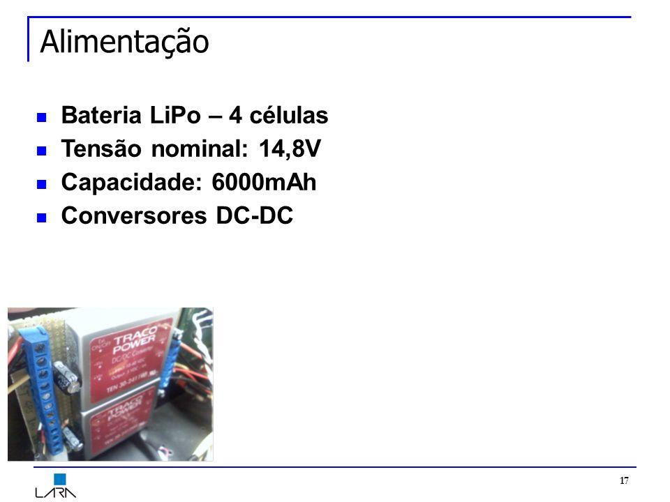 Alimentação Bateria LiPo – 4 células Tensão nominal: 14,8V