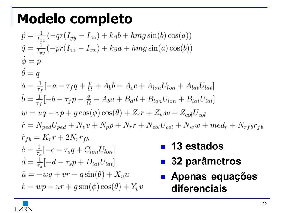 Modelo completo 13 estados 32 parâmetros Apenas equações diferenciais