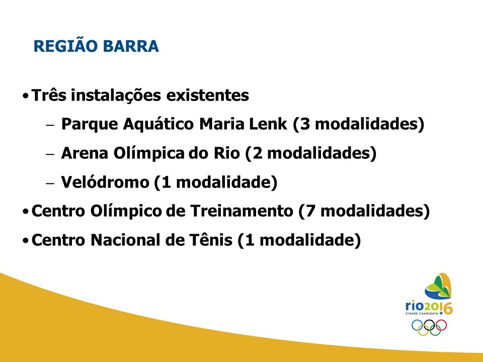 REGIÃO BARRA Três instalações existentes. Parque Aquático Maria Lenk (3 modalidades) Arena Olímpica do Rio (2 modalidades)
