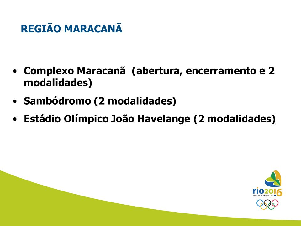 REGIÃO MARACANÃ Complexo Maracanã (abertura, encerramento e 2 modalidades) Sambódromo (2 modalidades)