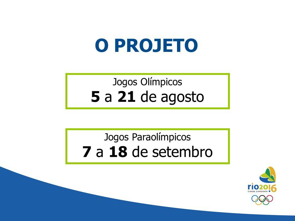 O PROJETO 5 a 21 de agosto 7 a 18 de setembro Jogos Olímpicos