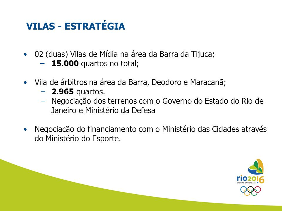VILAS - ESTRATÉGIA 02 (duas) Vilas de Mídia na área da Barra da Tijuca; 15.000 quartos no total;
