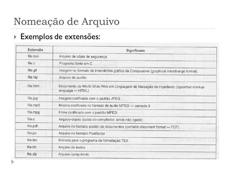 Nomeação de Arquivo Exemplos de extensões: