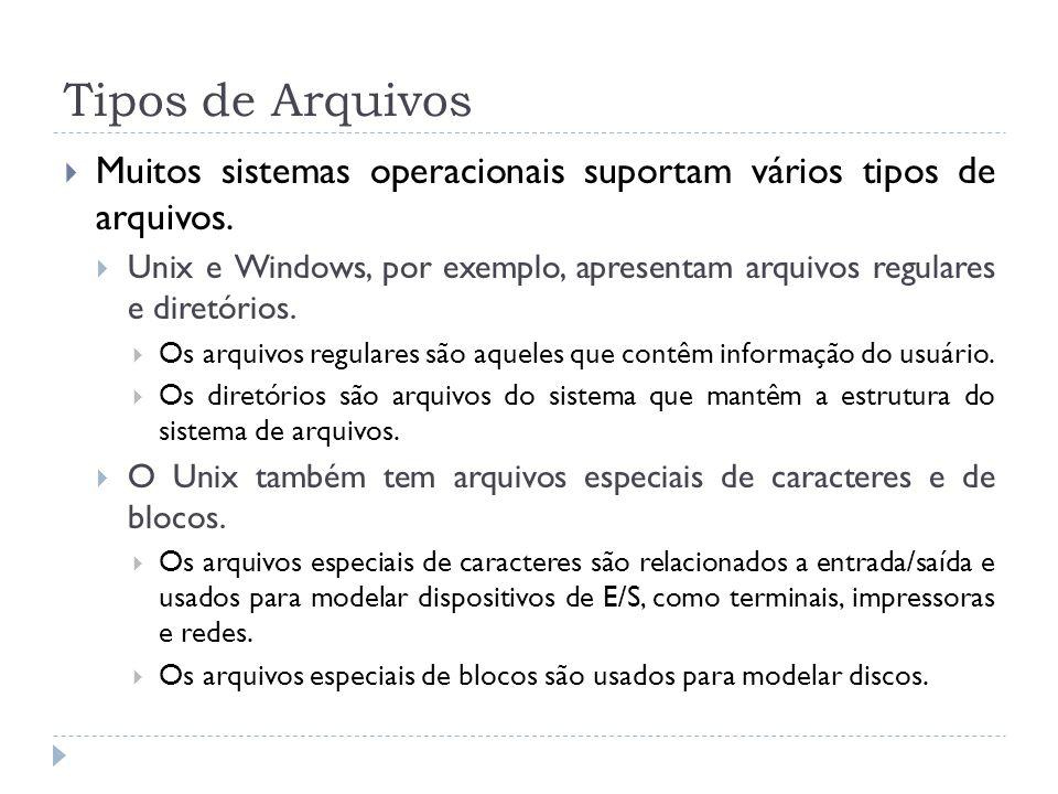 Tipos de Arquivos Muitos sistemas operacionais suportam vários tipos de arquivos.