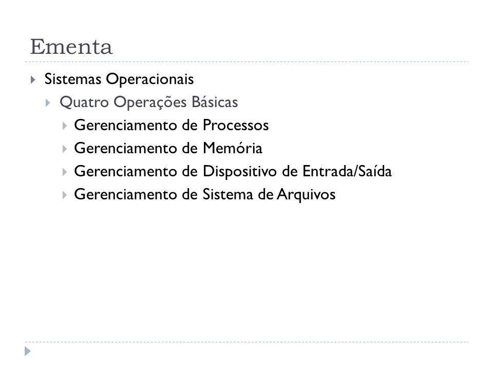 Ementa Sistemas Operacionais Quatro Operações Básicas