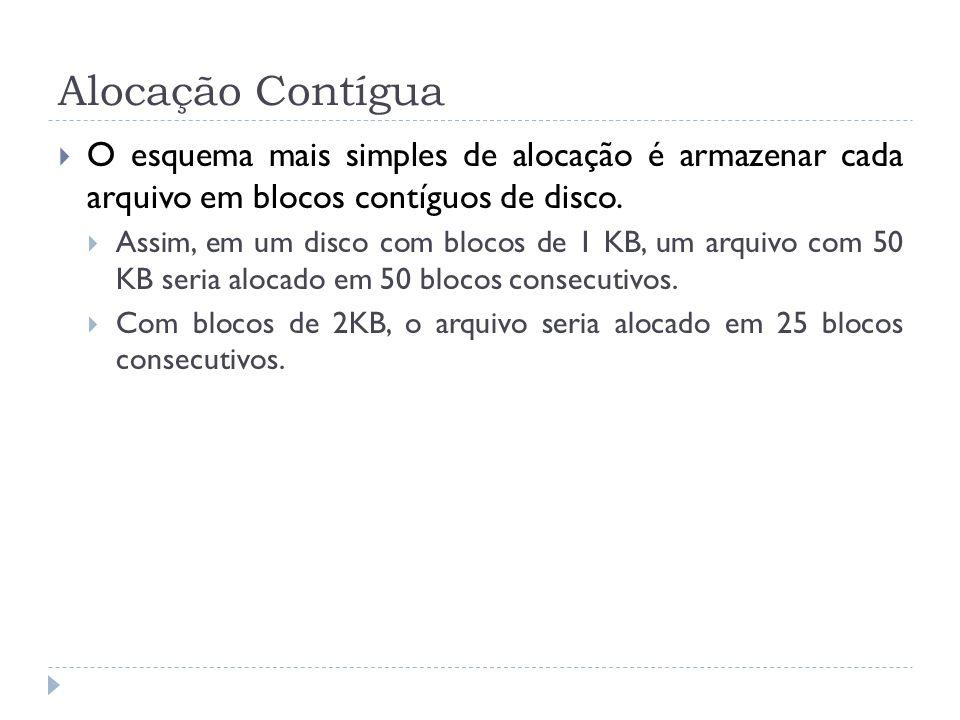 Alocação Contígua O esquema mais simples de alocação é armazenar cada arquivo em blocos contíguos de disco.