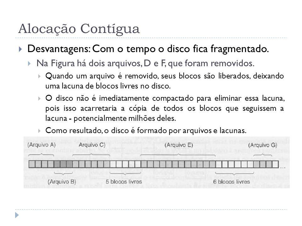 Alocação Contígua Desvantagens: Com o tempo o disco fica fragmentado.