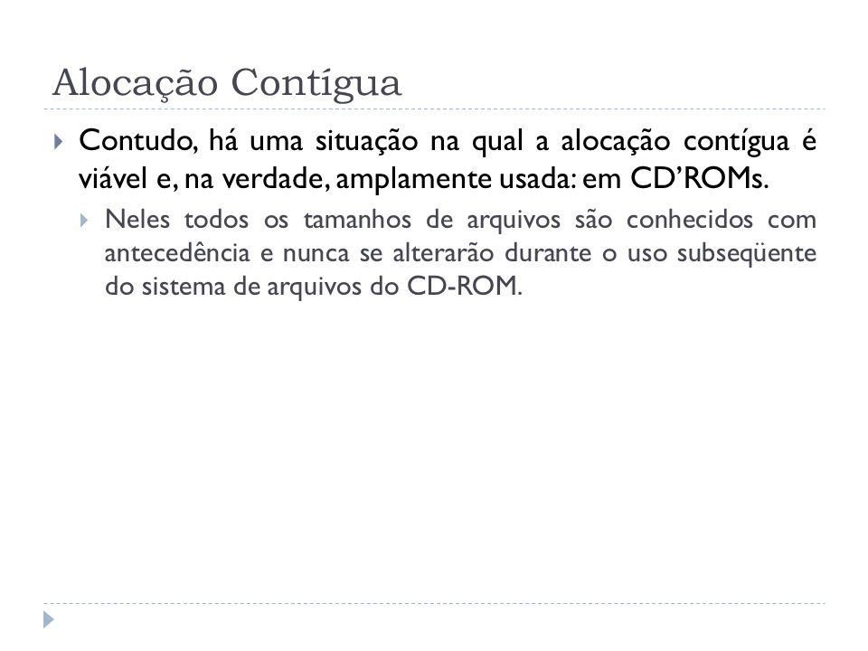 Alocação Contígua Contudo, há uma situação na qual a alocação contígua é viável e, na verdade, amplamente usada: em CD'ROMs.
