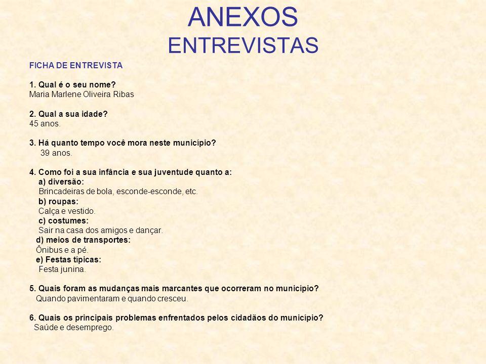ANEXOS ENTREVISTAS FICHA DE ENTREVISTA 1. Qual é o seu nome