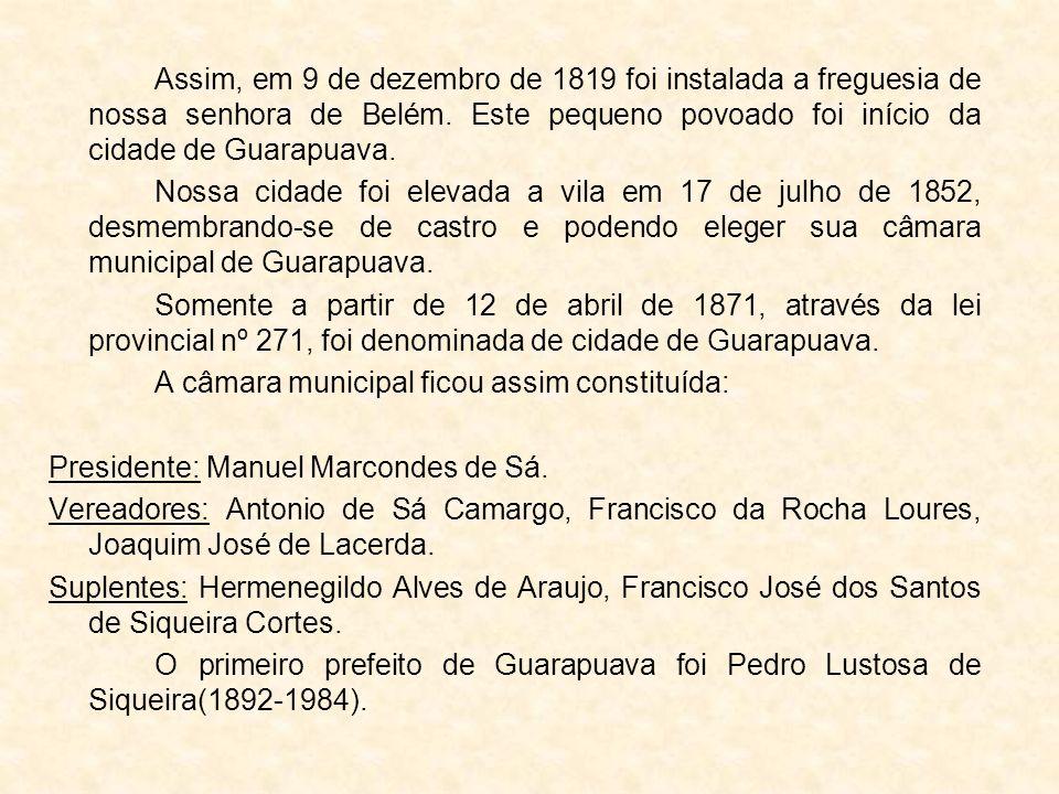 Assim, em 9 de dezembro de 1819 foi instalada a freguesia de nossa senhora de Belém. Este pequeno povoado foi início da cidade de Guarapuava.