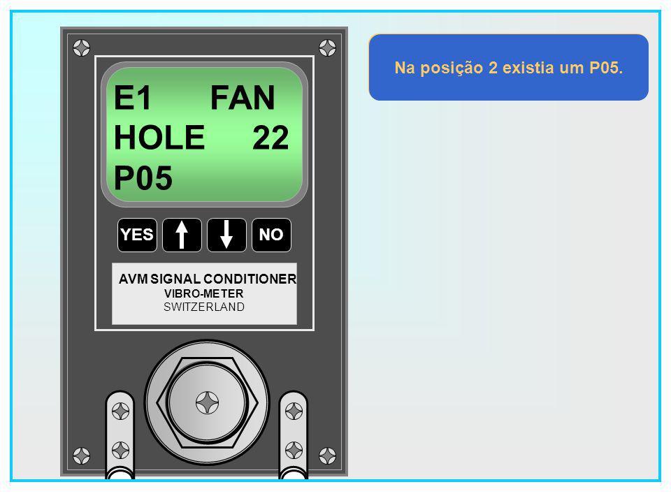E1 FAN HOLE 22 P05 Na posição 2 existia um P05. YES NO