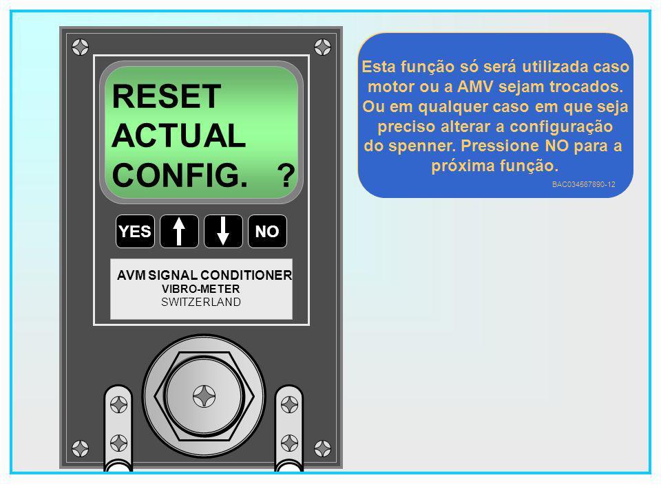 RESET ACTUAL CONFIG. Esta função só será utilizada caso