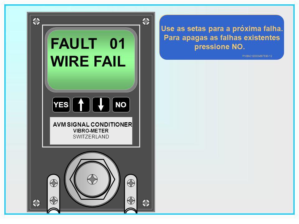Use as setas para a próxima falha. Para apagas as falhas existentes