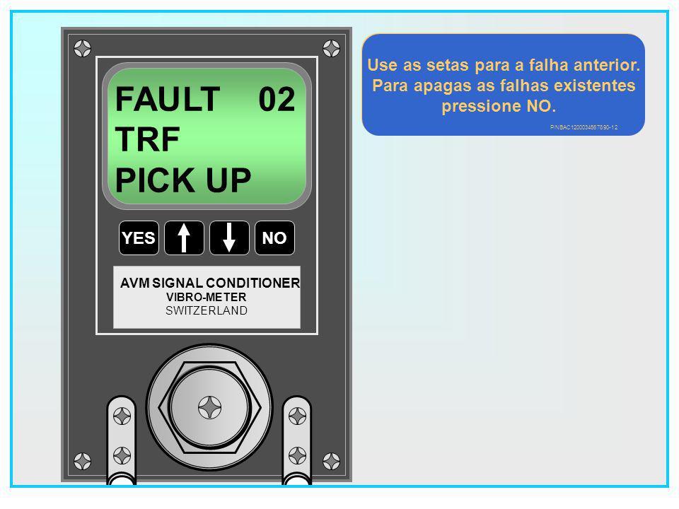 Use as setas para a falha anterior. Para apagas as falhas existentes