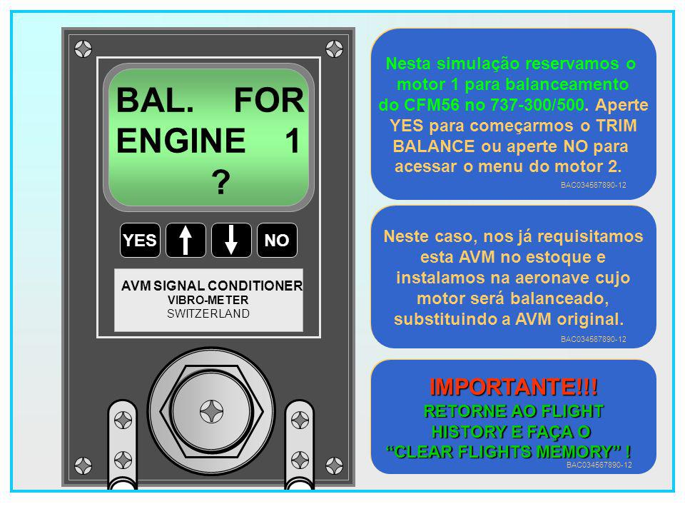 BAL. FOR ENGINE 1 IMPORTANTE!!! Nesta simulação reservamos o