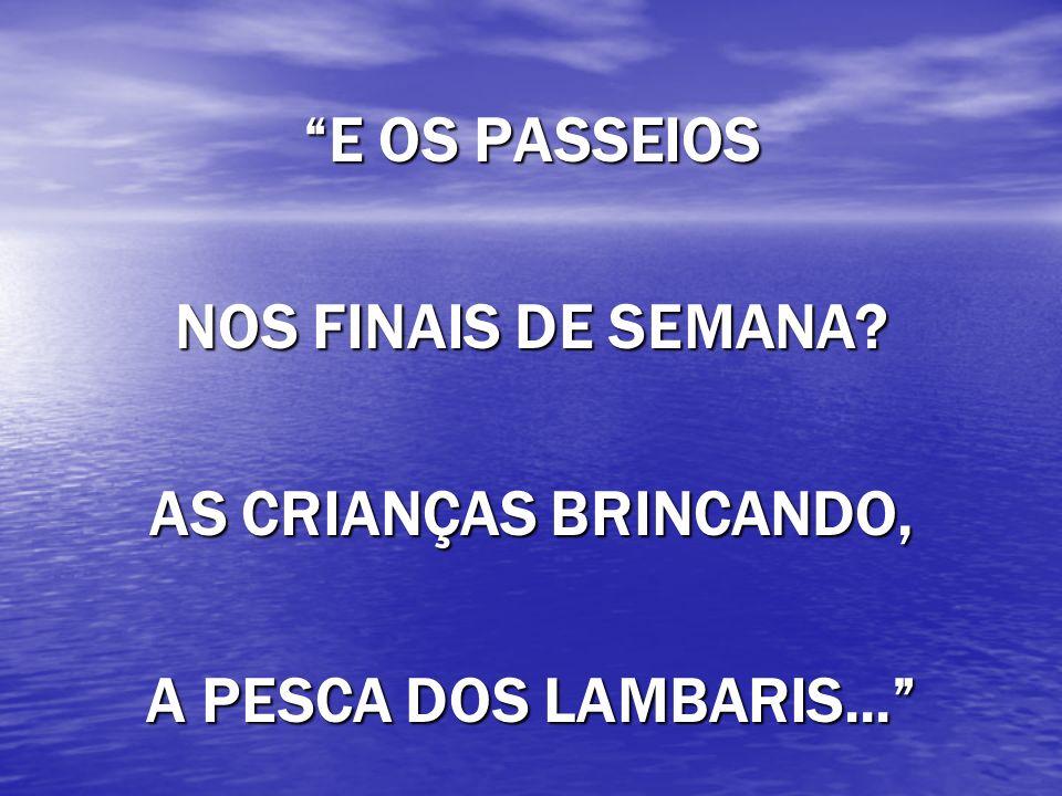 E OS PASSEIOS NOS FINAIS DE SEMANA AS CRIANÇAS BRINCANDO, A PESCA DOS LAMBARIS...