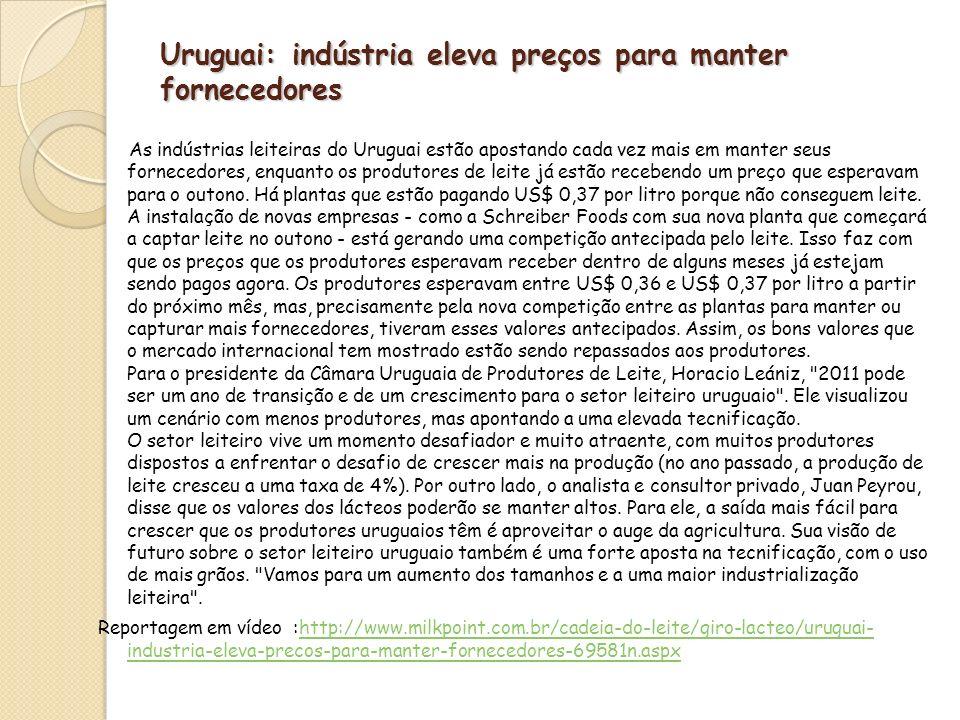 Uruguai: indústria eleva preços para manter fornecedores
