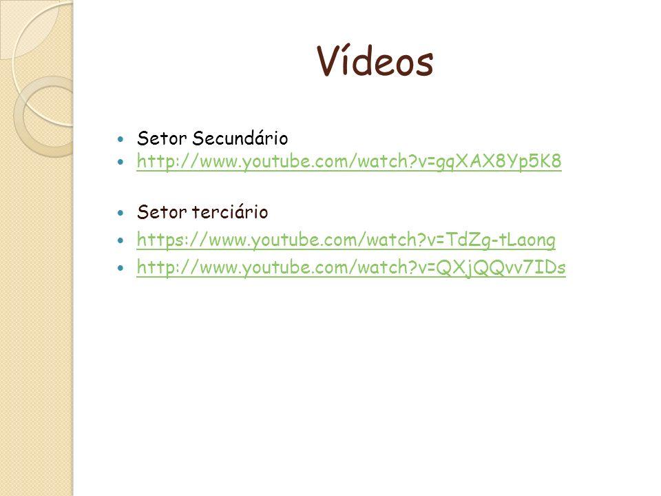 Vídeos Setor Secundário http://www.youtube.com/watch v=gqXAX8Yp5K8