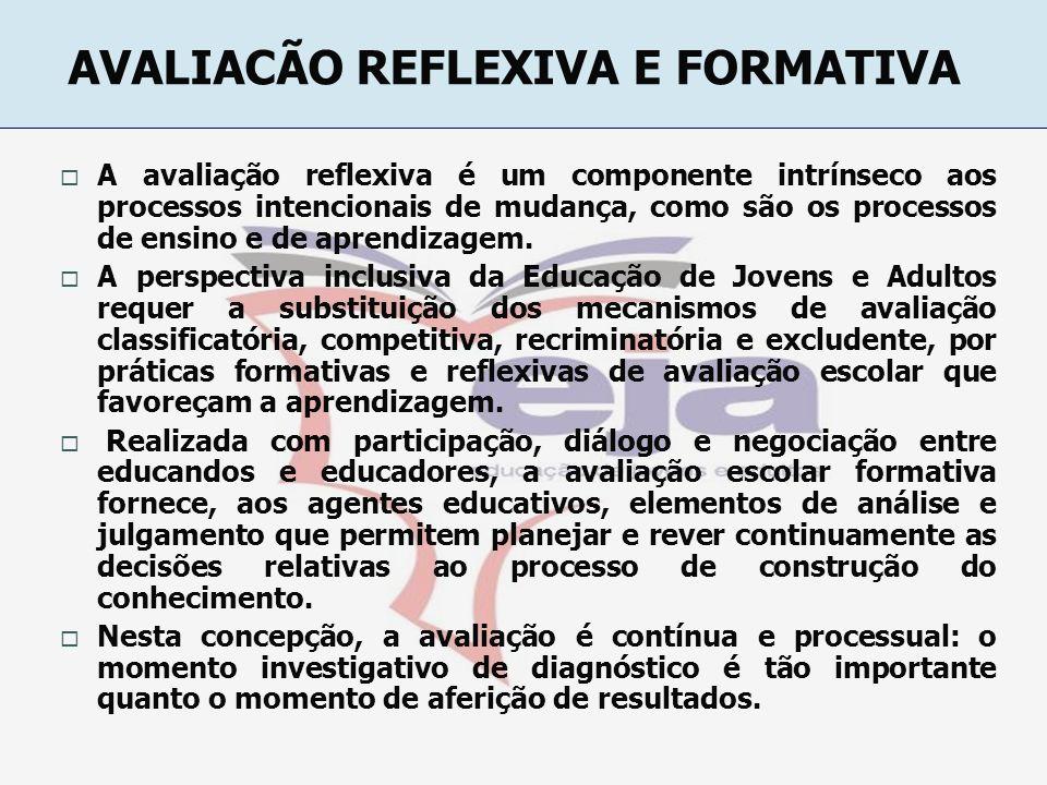 AVALIACÃO REFLEXIVA E FORMATIVA