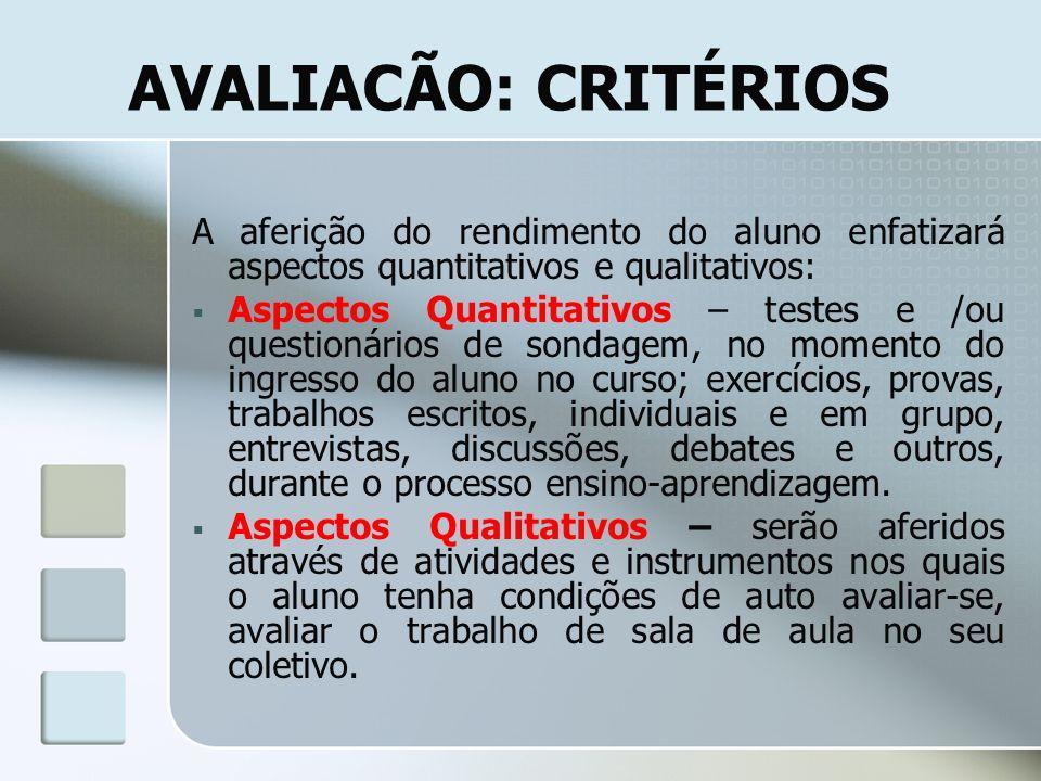 AVALIACÃO: CRITÉRIOS A aferição do rendimento do aluno enfatizará aspectos quantitativos e qualitativos: