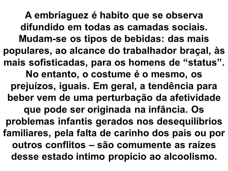 A embriaguez é habito que se observa difundido em todas as camadas sociais.